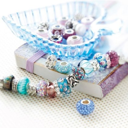 Charms Beads Armband Leder Schwarz 18cm