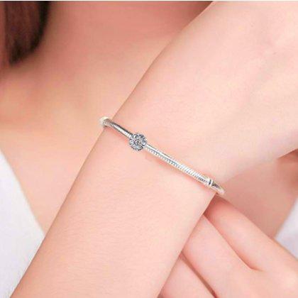 Charms Beads Armband Leder Schwarz 19cm