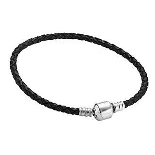 Charms Beads Armband Leder Schwarz 20cm