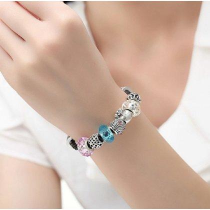 Charms Beads Armband Leder Schwarz 21cm