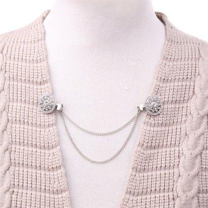 Damen Pullover-Clip Kragen Strick-jacke Cardigan Schal Metallclip blusen Clips pullovers metallclips silber jacke für brosche Schmuck zirkonia  ohne nadel Schleife