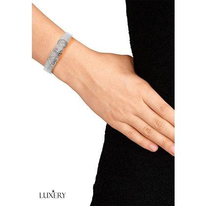 LUXERY Damen Charm Buchstabe für Armband,Edelstahl Schmuck Gestalten mit Charms Mesh Frauen Individuelle Anhänger Zirkonia Schiebe-perlen Slider F