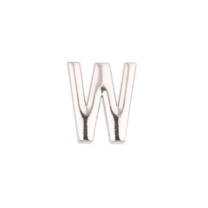 LUXERY Damen Charm Buchstabe für Armband,Edelstahl Schmuck Gestalten mit Charms Mesh Frauen Individuelle Anhänger Zirkonia Schiebe-perlen Slider W