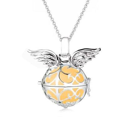 Damen Halskette 70 cm mit Ornament Anhänger und 3 Engelskugel Engel-kette-rufer Klangkugel Ø 14 mm in Schmuckbeutel zur Farbauswahl Yellow