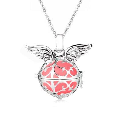 Damen Halskette 70 cm mit Ornament Anhänger und 3 Engelskugel Engel-kette-rufer Klangkugel Ø 14 mm in Schmuckbeutel zur Farbauswahl Rot