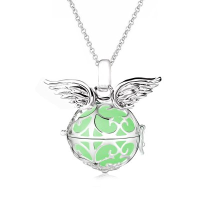 Damen Halskette 70 cm mit Ornament Anhänger und 3 Engelskugel Engel-kette-rufer Klangkugel Ø 14 mm in Schmuckbeutel zur Farbauswahl Grün