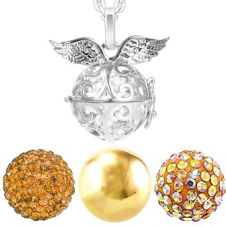 Damen Halskette 70 cm mit Ornament Anhänger und 3 Engelskugel Engel-kette-rufer Klangkugel Ø 14 mm in Schmuckbeutel zur Farbauswahl Gold