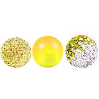 Damen 3 Engelskugel Engel-kette-rufer Klangkugel Ø 14 mm in Schmuckbeutel zur Farbauswahl für Halskette Ornament Anhänger  Yellow