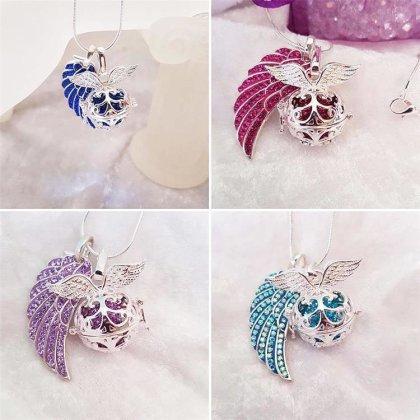 Damen 3 Engelskugel Engel-kette-rufer Klangkugel Ø 14 mm in Schmuckbeutel zur Farbauswahl für Halskette Ornament Anhänger  Multi Lila