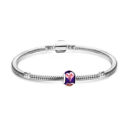 Charms Armband und 1 charm Anhänger lila Starter Set...