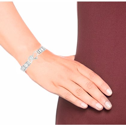 Akki Italian Charms passt auf Armband elemente Classic Silber italy gold Edelstahl Links glider Kult trend modele Basisarmband 9mm/18 Glieder matt gl?nzend kompatibel mit Original  nomination Model#6