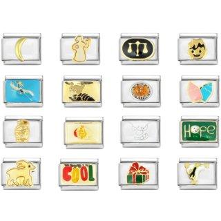 AKKi Italian Charms Armband Classic glieder italy charm,Silber gold Edelstahl Links Kult modele Blume tiere Herz für Basisarmband Glänzend matt Farbe kompatibel mit Original strass kölner dom N1